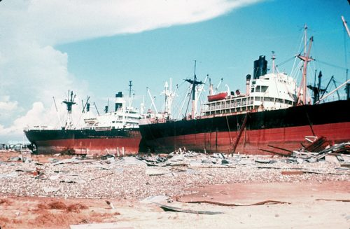 Worst Hurricanes in US History-Beached Ship in Gulfport Mississippi